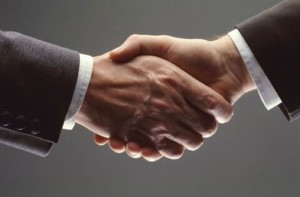 Two businessman shake hands, illustration of a situation from a job interview