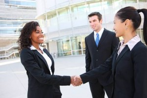 Meeting of job candidates with the interviewers in front of a hotel building