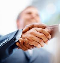 Handshake with the interviewer, people express their satisfaction